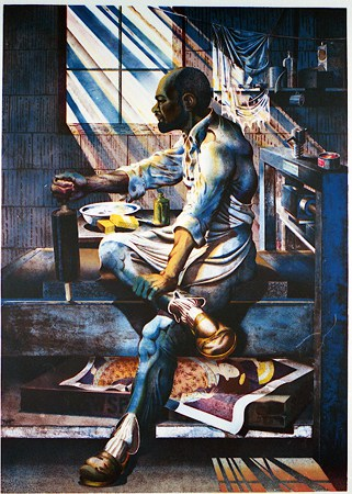 "Ron Adams, ""Profile in Blue,"" 1988, Lithograph, Museum Purchase with funds provided by the Edward J. Gallagher, Jr. Memorial Fund"