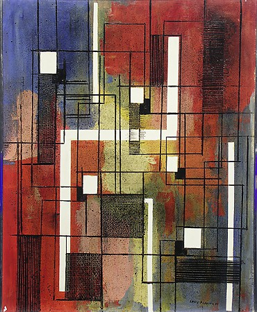 "Irene Rice Pereira, ""Rectangles,"" 1940, Oil on Canvas, Gift of C. Leonard Pfeiffer"