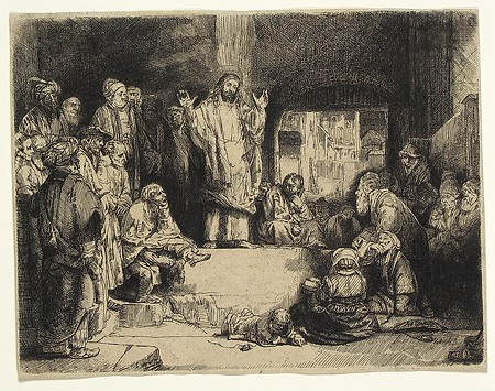 "Rembrandt van Rijn, ""Christ Preaching (La Petite Tombe),"" 1652 (circa), Etching, drypoint and burin on paper, Mr. Peter Licavoli; gift to UAMA, 1982."