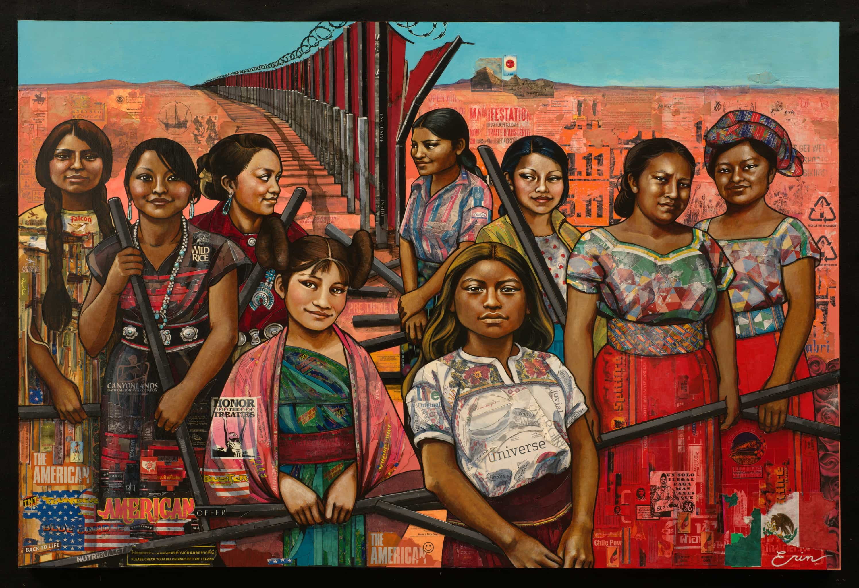 """Erin Currier American Women (dismantling the border) 2016 Mixed media  collage and acrylic on panel, 48""""x72"""""""