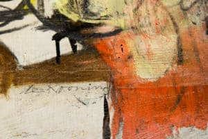 """Detail; recovered Willem de Kooning """"Woman-Ochre"""" painting."""