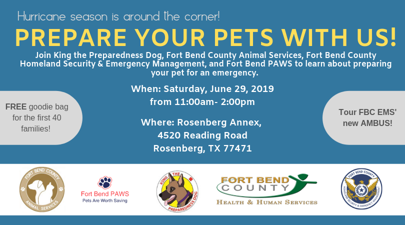 Pet preparedness event Saturday June 29 Rosenberg annex