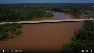 Drone footage of the Brazos River at the Stavinoha Bridge part two