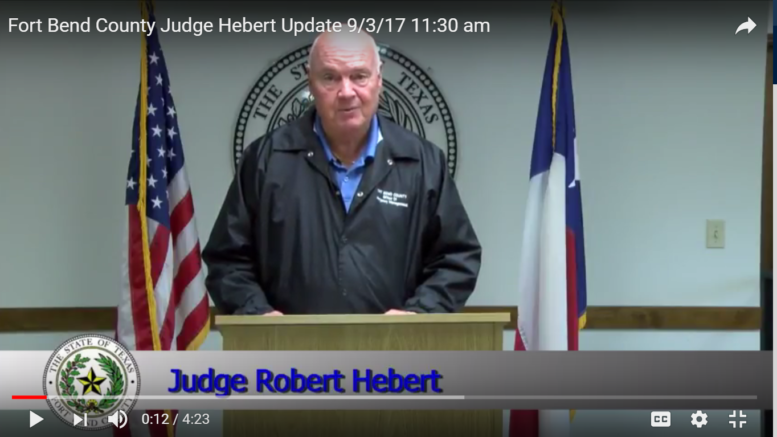Fort Bend County Judge Hebert Video Update, September 3rd, 2017
