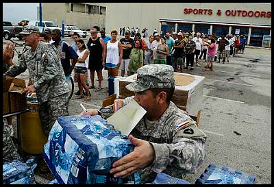 Texas National Guard - Water and MREs