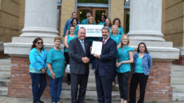 Judge Robert Hebert Presents Proclamation to Women's Center