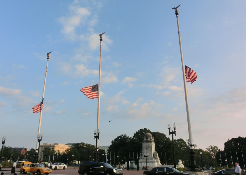 flags on patriot day