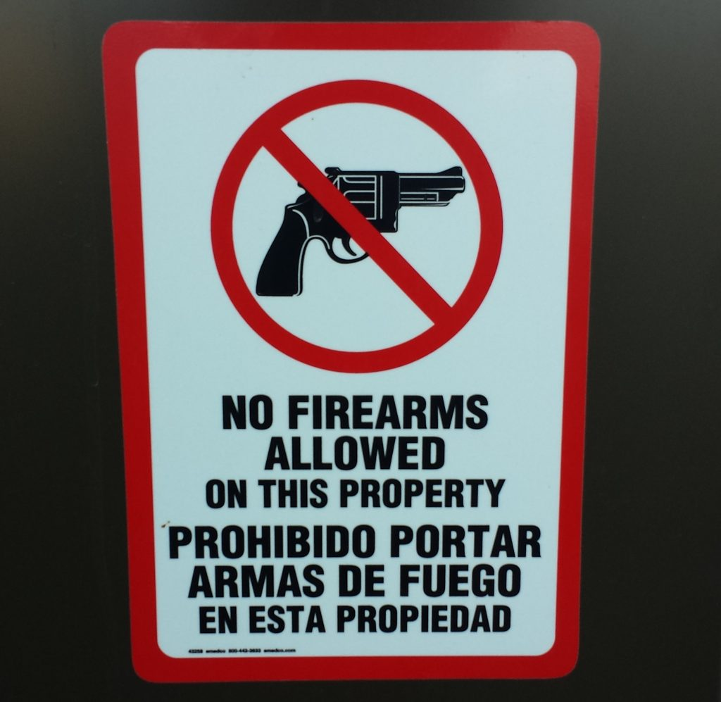 Signs that prohibit guns