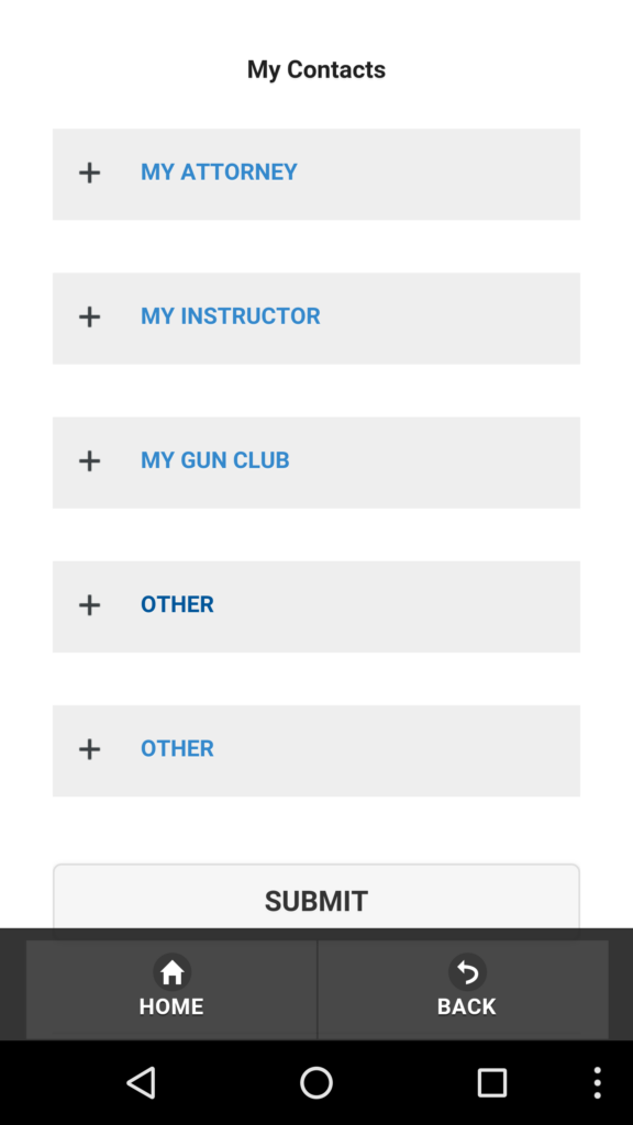 Contacts in Firearm App