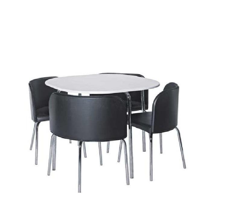 934 Hygena Amparo White Dining Table Patru Black Chairs Brand