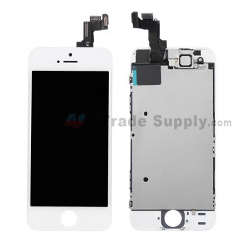 For Apple iPhone 5S LCD and Digitizer Assembly with Frame and Small Parts Replacement (without Home Button) - White - Grade S+ (2)
