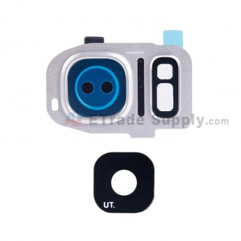 For Samsung Galaxy S7 G930/G930F/G930A/G930V/G930P/G930T/G930R4/G930W8 Rear Facing Camera Lens and Bezel Replacement - Silver - Grade S+ (1)