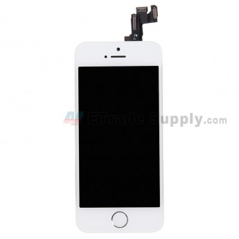 For Apple iPhone 5S LCD Screen and Digitizer Assembly with Frame and Home Button Replacement - White - Grade R