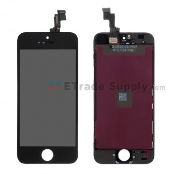 For Apple iPhone 5S LCD Screen and Digitizer Assembly with Frame Replacement - Black - Grade R