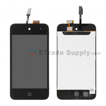 For Apple iPod Touch 4th Generation LCD Screen and Digitizer Assembly with Home Button Replacement - Black - Grade R