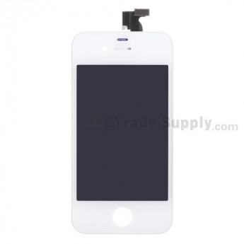 For Apple iPhone 4S LCD Screen and Digitizer Assembly with Frame Replacement - White - Grade S+