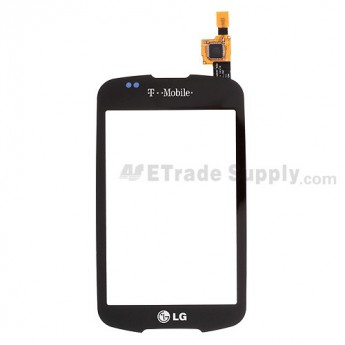 For LG Optimus T P509, Optimus One P500 Digitizer Touch Screen without Adhesive Replacement ,Black, With T-mobile Logo - Grade S+