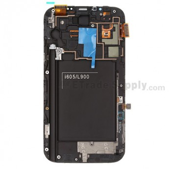 Replacement Part for Samsung Galaxy Note II SPH-L900 LCD Screen and Digitizer Assembly with Front Housing - Gray, With Samsung Logo - A Grade