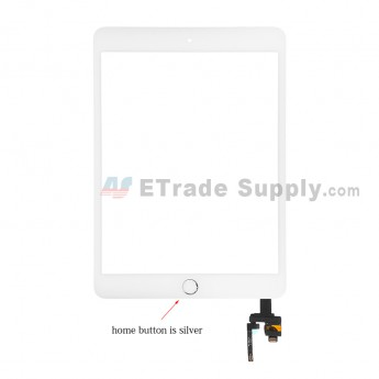 For Apple iPad Mini 3 Digitizer Touch Screen Assembly with IC Board Replacement - Silver - Grade S