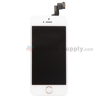 For Apple iPhone 5S LCD Screen and Digitizer Assembly with Frame and Home Button Replacement - Gold - Grade S+