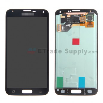 For Samsung Galaxy S5 SM-G900/G900A/G900V/G900P/G900R4/G900T/G900F LCD Screen and Digitizer Assembly Replacement - Black - Samsung Logo - Grade S