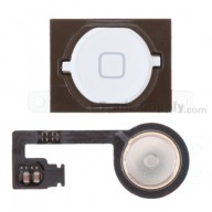 For Apple iPhone 4S Home Button with Flex Cable Ribbon Replacement - White - Grade S+