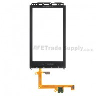 Replacement Part for Motorola Droid X2, MB870 Digitizer Touch Screen with Front Housing - Narrow Connector - Grade S+