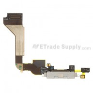 For Apple iPhone 4 Charging Port Flex Cable Ribbon  Replacement (AT&T) - White - Grade S+