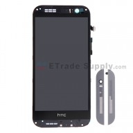 For HTC One M8 LCD Screen and Digitizer Assembly with Front Housing  Replacement - Gray - With HTC Logo Only - Grade S+