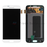For Samsung Galaxy S6 SM-G920A LCD Screen and Digitizer Assembly  Replacement  - White - Samsung Logo - Grade S+