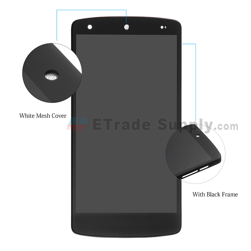 For LG Nexus 5 D820 LCD Screen and Digitizer Assembly with Front Housing Replacement (No Small Parts, White Mesh Cover) - Black - Without Logo - Grade S+