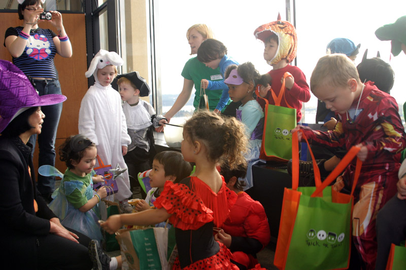 Trick-or-treaters visit UW Tower