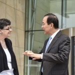 President Cauce speaking with China CDC Director General Wang Yu