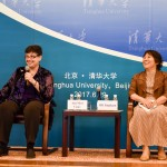 Ana Mari Cauce and Shi Jinghuan at Tsinghua University taking questions