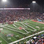 "The WSU Marching Band plays ""Bow Down to Washington"" in honor of the UW Marching Band, which wasn't able to continue its trip to Pullman"