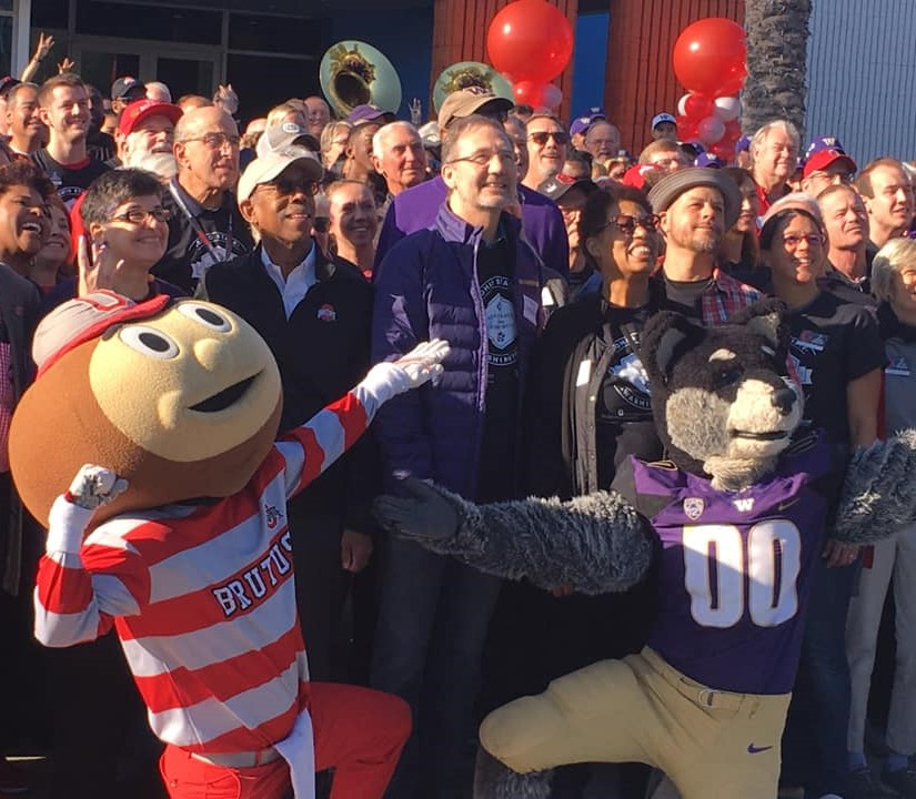 Group photo with Brutus the Buckeye and Harry the Husky mascots