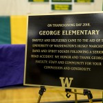 A plaque commemorating the generosity of George Elementary school