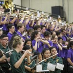 The Husky Band and the Quincy High School band join forces