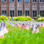 American flags on the HUB lawn