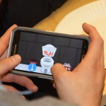 "A CEE undergraduate student plays ""LoosePoops"" during an app testing event."