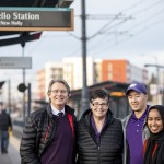 With Provost Mark Richards and students Anthoni Duong and Ahlaam Ibrahim at Othello Station, which connects the Othello-UW Commons with UW's campus