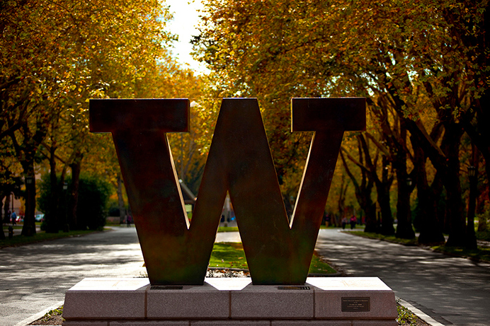 Bronze W on Memorial Way on the Seattle campus
