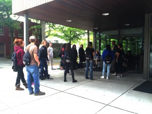 A group of Sedro Woodley High School students entering the Ethnic Cultural Center