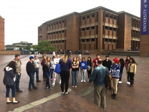 A group of Sedro Woodley High School students gathering in front of the guide in Red Square