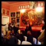 Art Historian Timea Junghaus talks with UW students