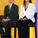 Ben Waters and Adina Mangubat answer questions during the University of Washington's inaugural Innovation Summit, held November 13 in Shanghai, China.