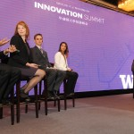 Four University of Washington innovators – Shwetak Patel, Gina Neff, Ben Waters and Adina Mangubat – answer questions during the UW's inaugural Innovation Summit, held November 13 in Shanghai, China.