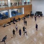 The UW Men's Basketball Team practices in Alibaba's court.