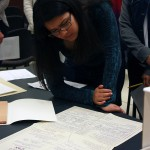 Student examines genealogical chart