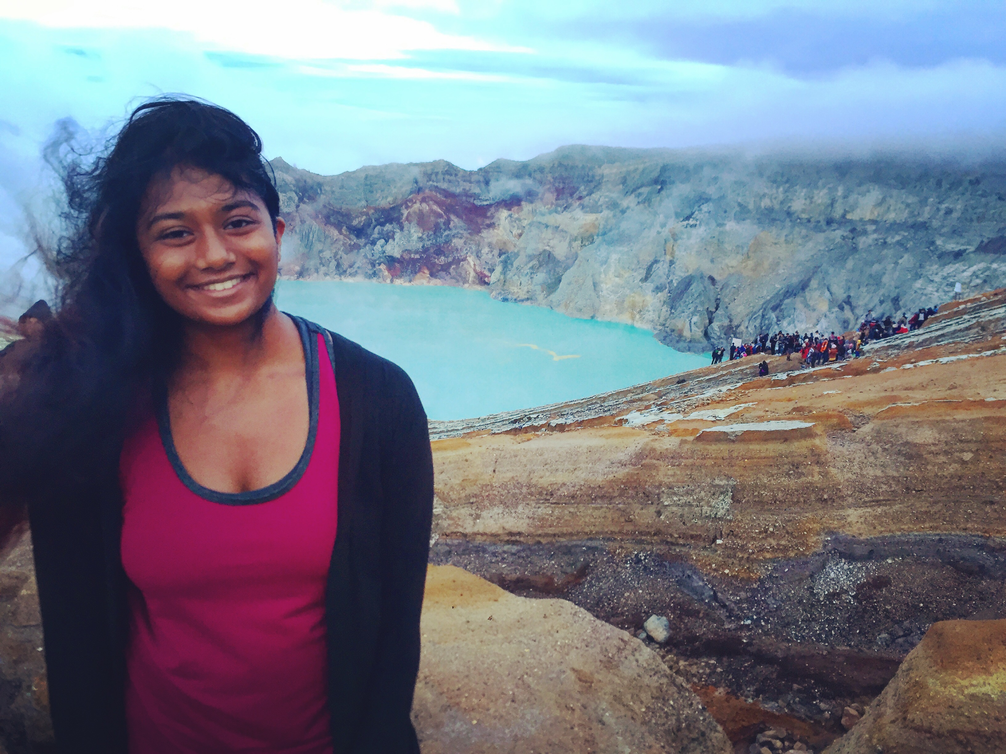 Living in Cambodia made it easy to travel throughout Asia. Varsha visited Japan, South Korea, Indonesia, Myanmar, Thailand, Laos, the Philippines, China and India. Here she is after a hike in Java.